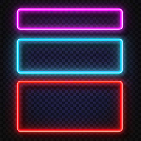 Neon light banners set. Vector Neon light frame sign. Realistic glowing neon frames isolated on transparent background. Shining and glowing neon effect. Plates with a place for inscriptions