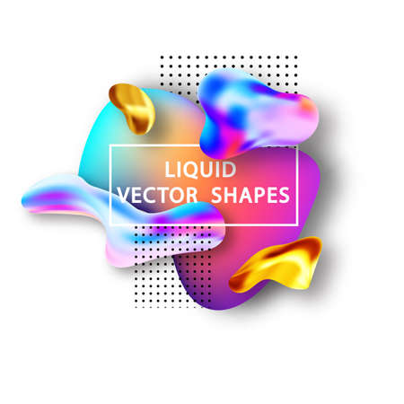 Fluid shape layout isolated template set. Template for the design of a logo, flyer or presentation. Fluid gradient elements. Colorful abstract shapes Liquid gradient elements Stock Vector - 117805919