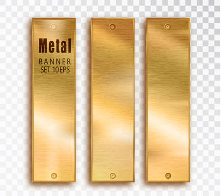 Metal gold vertical banners set realistic. Vector Metal brushed plates with a place for inscriptions isolated on transparent background. Realistic 3D design. Stainless steel background.
