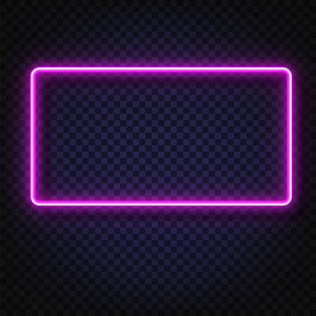 Neon light rectangular banner. Vector Neon light frame sign. Realistic glowing Violet neon rectangular frame isolated on transparent background. Shining and glowing neon effect. Plates with a place for inscriptions isolated. Illustration