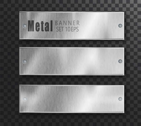 Metal banners horizontal set realistic. Vector Metal brushed plates with a place for inscriptions on transparent background. Realistic 3D design. Stainless steel background