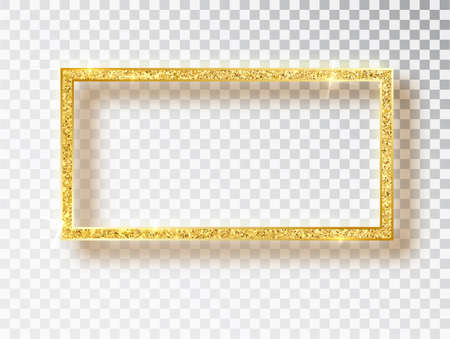 Gold shiny glowing frame. Vector Gold banners with a place for inscriptions isolated on transparent background. Golden luxury. Realistic 3D design. Vector object