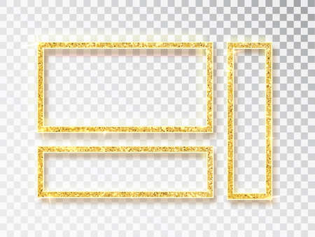 Gold shiny glowing frame set . Vector Gold banners with a place for inscriptions isolated on transparent background. Golden luxury. Realistic 3D design. Vector object