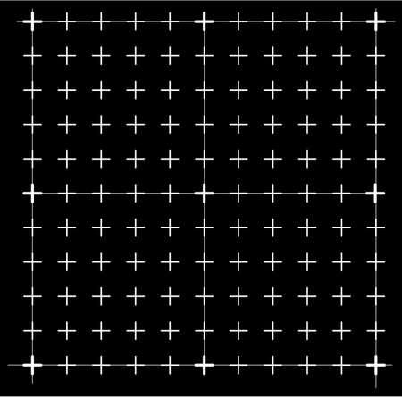 Measured grid. Graph plotting grid. Corner ruler with measurement isolated on the black background. Vector graph paper template background Vektoros illusztráció
