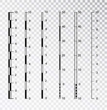 Vector map scales graphics for measuring distances . set of metric rulers in flat style. Measuring scales. Mackup for rulers. Size indicators set isolated on background. Unit distances. Illustration