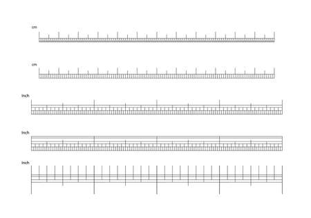Inch and metric rulers vector. Measuring tool. Centimeters and inches measuring scale cm metrics indicator. Scale for a ruler in inches and centimeters. Measuring scales Illustration