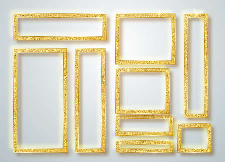 Gold shiny glowing frame set . Vector Gold banners with a place for inscriptions isolated on transparent background. Golden luxury. Realistic 3D design. Vector object 10 eps.