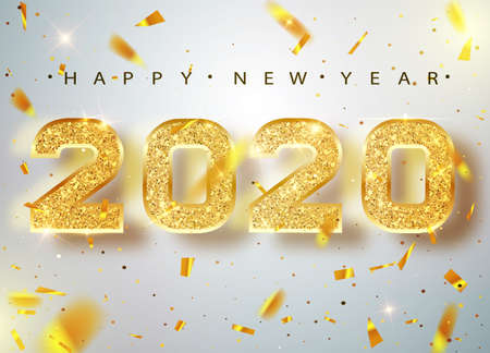 2020 Happy new year. Gold Numbers Design of greeting card of Falling Shiny Confetti. Gold Shining Pattern. Happy New Year Banner with 2020 Numbers on Bright Background. Vector illustration Illustration