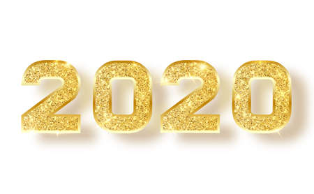 2020 glitter typography design. Gold sparkling Numbers Design of greeting card of Happy new year design. Gold Shining Pattern. Happy New Year Banner with 2020 Numbers. Vector illustration Stock Vector - 118850699