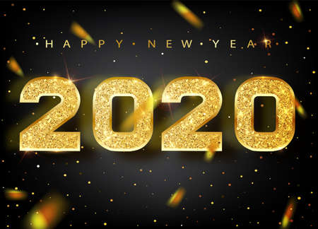 2020 Happy new year. Gold Numbers Design of greeting card. Gold Shining Pattern. Happy New Year Banner with 2020 Numbers on Bright Background. Vector illustration.