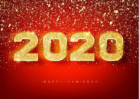 2018 Happy new year. Gold Numbers Design of greeting card of Falling Shiny confetti. Gold Shining Pattern. Happy New Year Banner with 2018 Numbers on red Bright Background. Vector Illustration