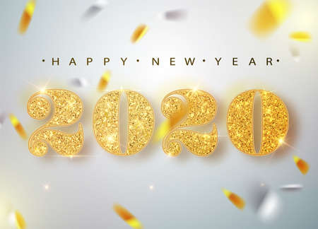 Banner di felice anno nuovo con numeri in oro 2020 su sfondo luminoso con coriandoli volanti. Illustrazione vettoriale Vettoriali