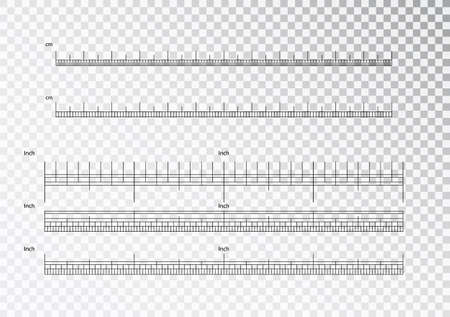 Inch and metric rulers. Centimeters and inches measuring scale cm metrics indicator. Precision measurement centimeter icon tools of measure size indication ruler tools. Vector isolated Stock Vector - 118741844