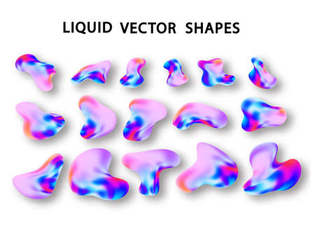 Fluid shape layout isolated template set. Colorful abstract shapes. Futuristic trendy dynamic elements. Liquid gradient elements for minimal banner, social post. Vector illustration.