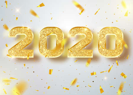 2020 Happy new year confetti falls. Gold Numbers Design of greeting card. Gold Shining Pattern. Happy New Year Banner with 2020 Numbers. Vector illustration.
