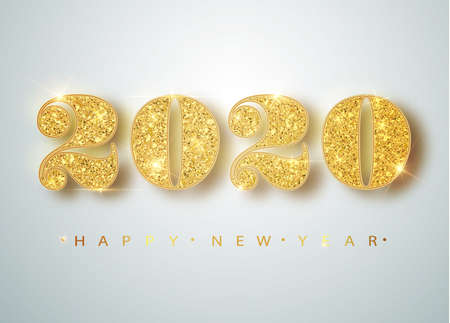 Happy New 2020 Year. Holiday vector illustration of golden metallic numbers 2020. Realistic sign. Festive poster or banner design Çizim