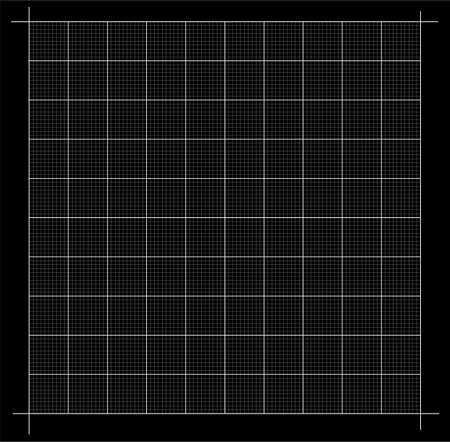 Measured grid. Graph plotting grid. Corner ruler with measurement isolated on the black background. Vector graph paper template background.