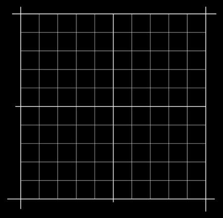 Measured grid. Graph plotting grid. Corner ruler with measurement isolated on the black background. Vector graph paper template background Illustration