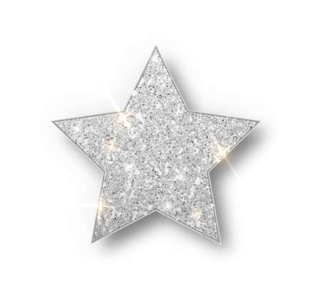 Silver glitter star vector isolated. Silver sparkle luxury design element isolated. Icon of star isolated. New Year s decor element. Ramadan design element Template.