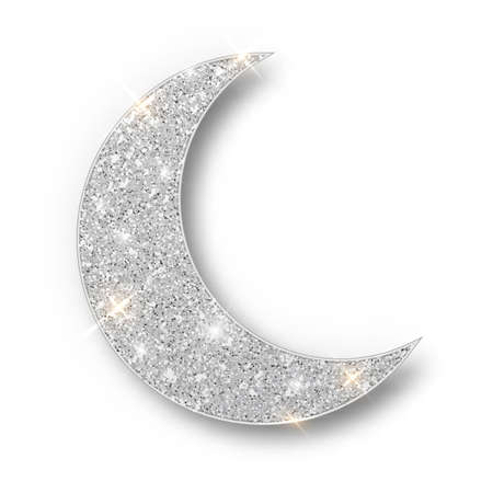 Crescent Islamic for Ramadan Kareem design element isolated. Silver glitter moon vector icon of Crescent Islamic isolated. Luxury silver crescent, half moon gold glittering confetti particles background