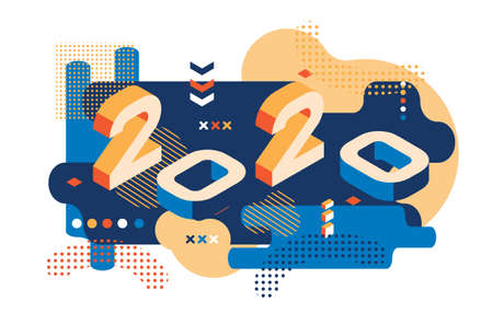 2020 Colored Memphis style. Banner with 2020 Numbers. Vector New Year illustration. 矢量图像
