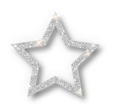 Silver Christmas star isolated on white background. Stock Illustratie
