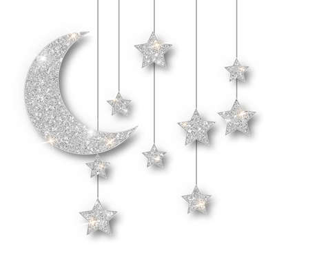 Ramadan silver decoration isolated on white background. Hanging Crescent Islamic glitter stars. Ramadan Kareem design element isolated. Vector frame for party posters, headers, banners. Illustration
