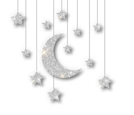 Ramadan silver decoration isolated on white background. Hanging Crescent Islamic glitter stars. Ramadan Kareem design element isolated. Vector frame for party posters, headers, banners. Ilustracja