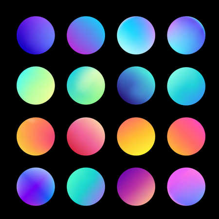 Rounded holographic gradient sphere set. Gradient colorful sphere in trendy style. Multicolor round buttons or vivid color spheres flat set. Vector illustration