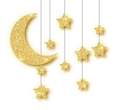 Ramadan golden decoration isolated on white background. Hanging Crescent Islamic glitter stars. Ramadan Kareem design element isolated. Vector frame for party posters, headers, banners