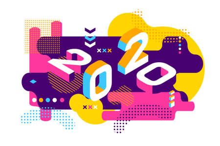 2020 Colorato stile Memphis. Banner con numeri 2020. Illustrazione di nuovo anno di vettore. Vettoriali