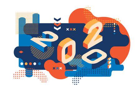 2020 Colorato stile Memphis. Banner con numeri 2020. Illustrazione di nuovo anno di vettore.