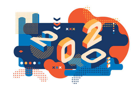 2020 Colored Memphis style. Banner with 2020 Numbers. Vector New Year illustration. Illustration