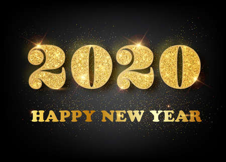 Happy New Year 2020 - New Year Shining background with gold and glitter. Happy New Year Banner with 2020 Numbers for greeting card, calendar 2020 Illustration