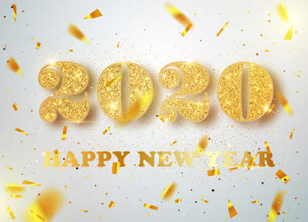Happy New 2020 Year. Holiday vector illustration of golden metallic numbers 2020. Realistic sign. Festive poster or banner design.