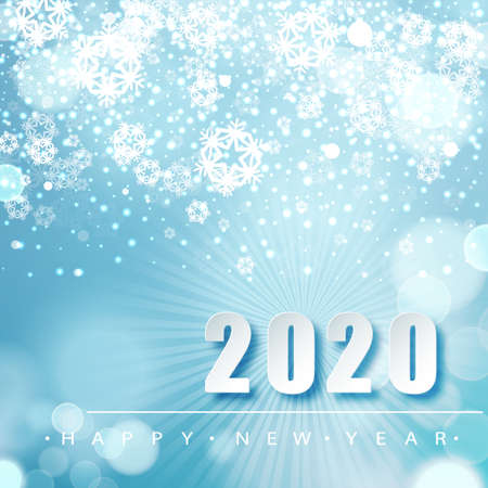 2019 Blue Christmas typography design. Winter season background with falling snow. Christmas and New Year poster template.Holiday greetings. Vector illustration EPS10.