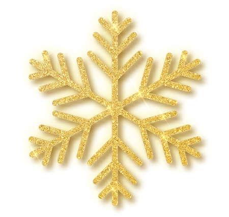 Gold glitter texture snowflake isolated on white background. Vector illustration Illustration