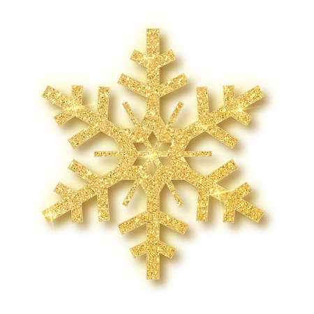 Isolated over white background snowflake. Christmas decor. Vector illustration.