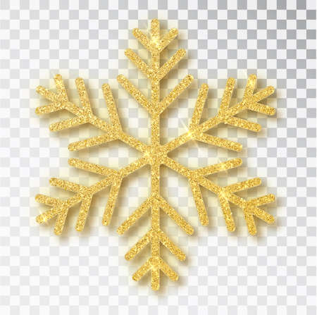 Christmas decoration, golden snowflake covered bright glitter, on transparent background. Xmas ornament gold snow with bright sparkles Illustration