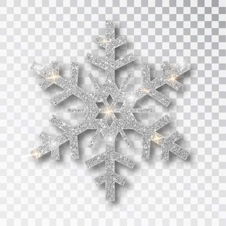 Silver snowflake isolated on a transparent background. Christmas decoration, covered bright glitter. Silver glitter texture snowflake isolated. Xmas ornament silver snow with bright sparkle.