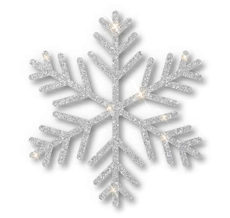 Silver snowflake, Christmas decoration, covered bright glitter. Silver glitter texture snowflake isolated. Xmas ornament silver snow with bright sparkle