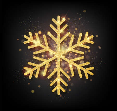 Sparkling golden snowflake with glitter texture for Christmas, New Year greeting card. Vector black background with isolated winter snowflake. Illustration