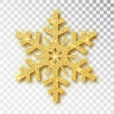 Snowflake made of golden glitter isolated on white background. Vector Christmas or New Year design element Illustration