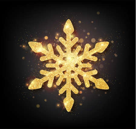 Glitter covered gold snowflake with on transparent background. Greeting card, invitation happy New year 2018 and Christmas. Vector illustration