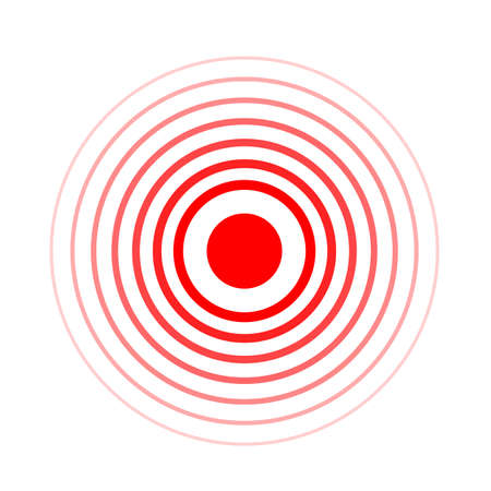 Pain circle red icon for medical painkiller drug medicine. Vector red circles target spot symbol for pill medication design template of body or muscular joint pain and head ache analgetic remedy.