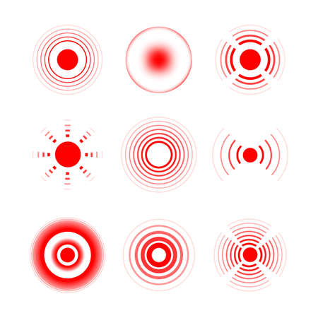 Pain red rings to mark painful woman and man body parts, neck, bones, muscle and headache. Medical vector set of radial target medical problem illustration.