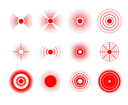 Pain circles. Red painful target spot, targeting medication remedy circle and joint pain spots. Muscle pain, painful headaches or health healing sound wave isolated vector icons set. Illustration