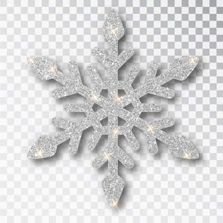 Silver snowflake isolated on a transparent background. Christmas decoration, covered bright glitter. Silver glitter texture snowflake isolated. Xmas ornament silver snow with bright sparkle