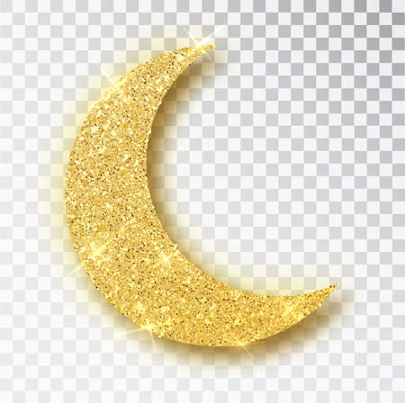 Crescent Islamic for Ramadan Kareem design element isolated. Gold glitter moon vector icon of Crescent Islamic isolated. Luxury gold crescent, half moon gold glittering confetti particles background