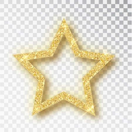 Gold glitter vector star. Golden sparkle luxury design element. Vector particles.